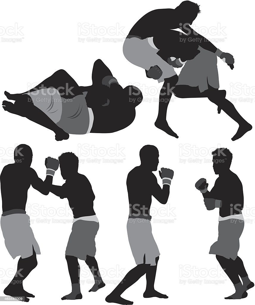 MMA fighters royalty-free stock vector art
