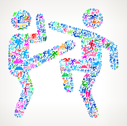 Fighting  Active Lifestyle Vector Icon Pattern