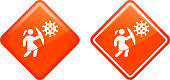Fighting Against Coronavirus Covid-19 Icon. This 100% royalty free vector illustration is featuring a diamond shaped red button. The main icon is depicted in white. There is an alternative variation with a white outline on the right.