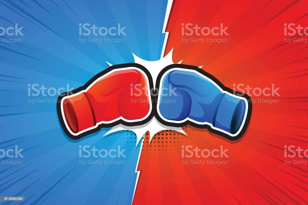 Fighting Background, Boxing Gloves, Versus. Vector illustration vector art illustration