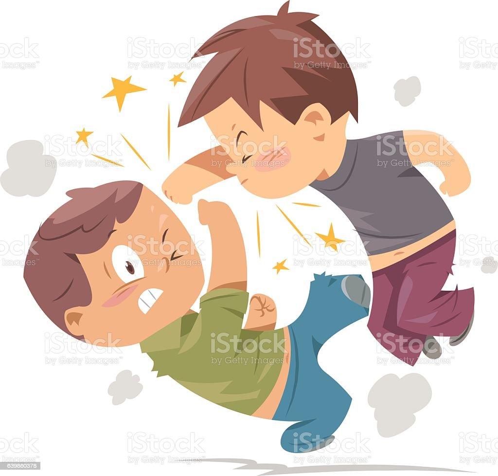 Luta contra meninos - ilustração de arte em vetor