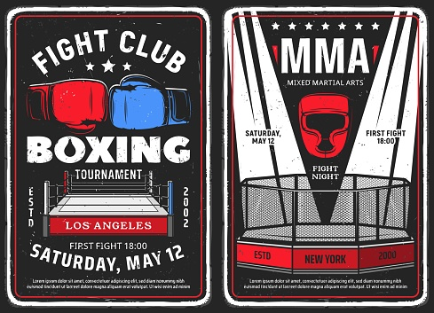 Fighting club, boxing tournament retro posters