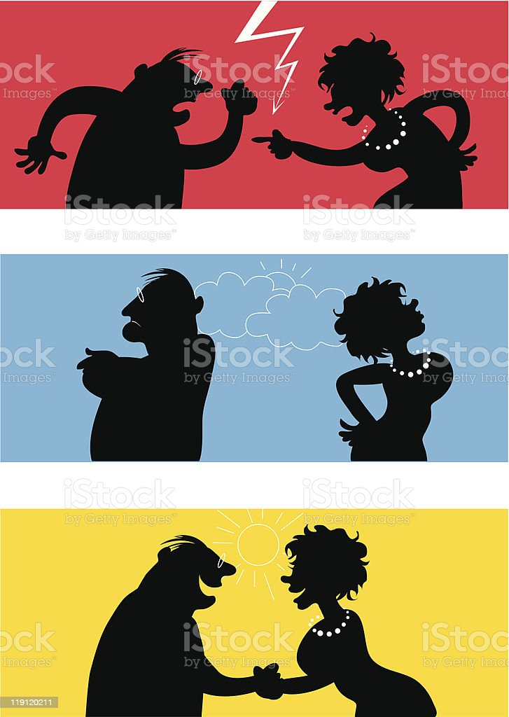 Fighting couple vector art illustration