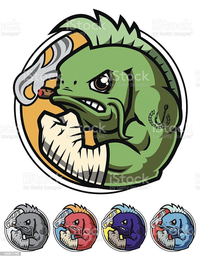 Fighting Fish Icon vector art illustration