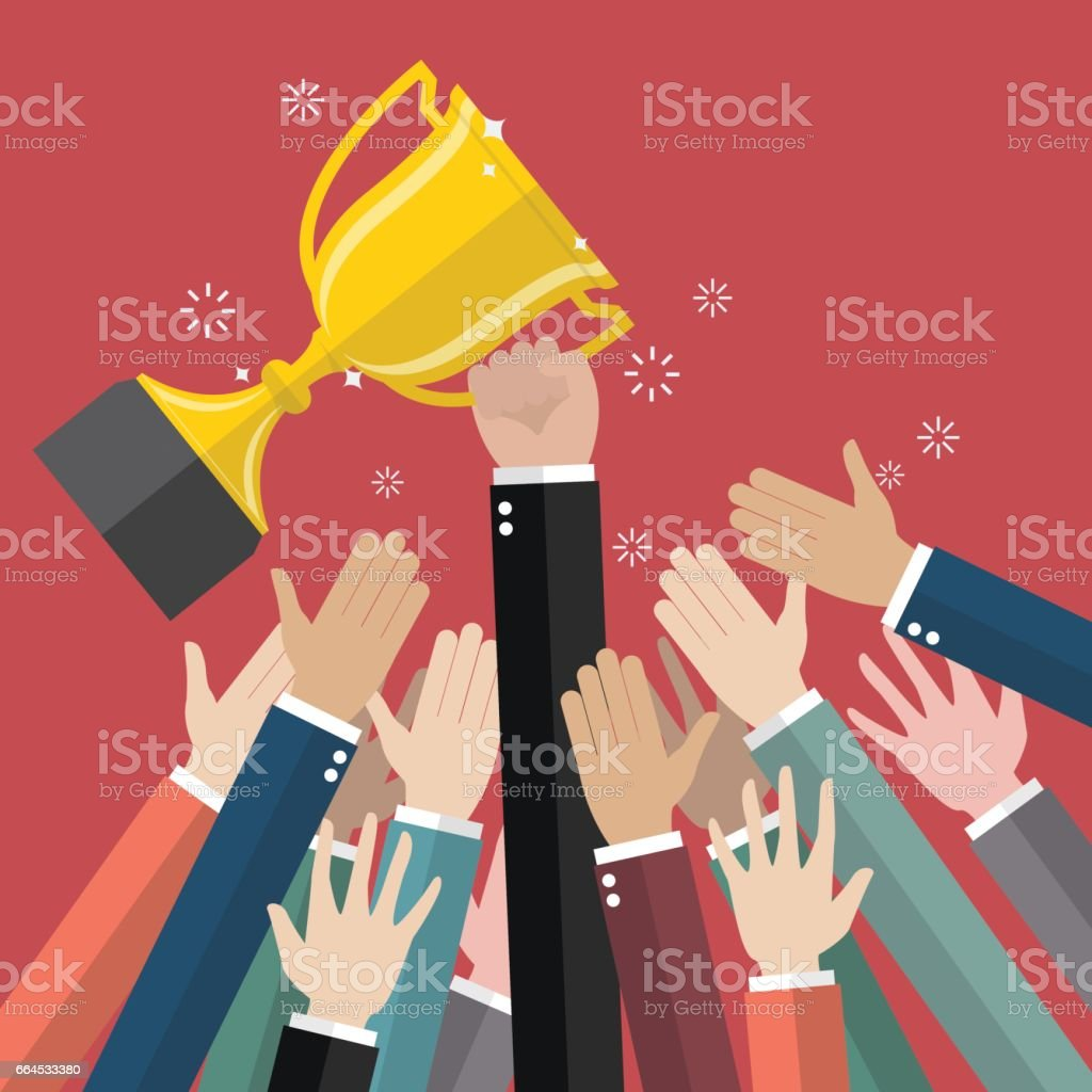 Fighting for a winning trophy vector art illustration