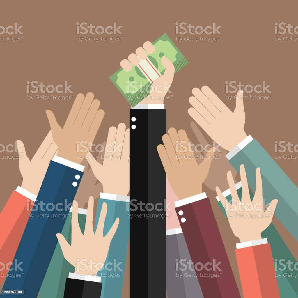 Fighting for money vector art illustration