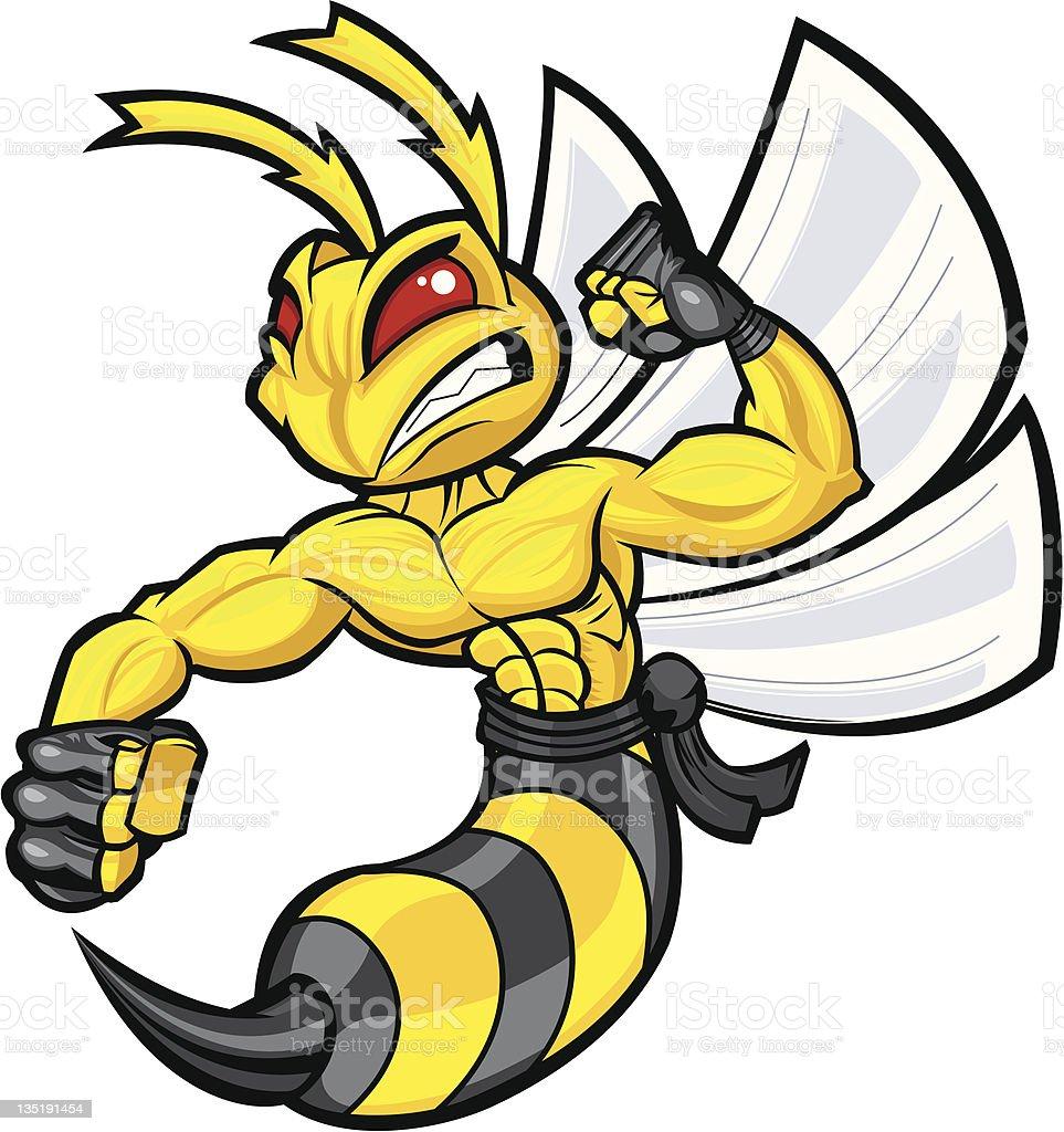 Fighting Hornet vector art illustration
