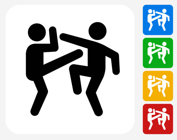 Fighting Icon Flat Graphic Design Fighting Icon. This 100% royalty free vector illustration features the main icon pictured in black inside a white square. The alternative color options in blue, green, yellow and red are on the right of the icon and are arranged in a vertical column. ducking stock illustrations