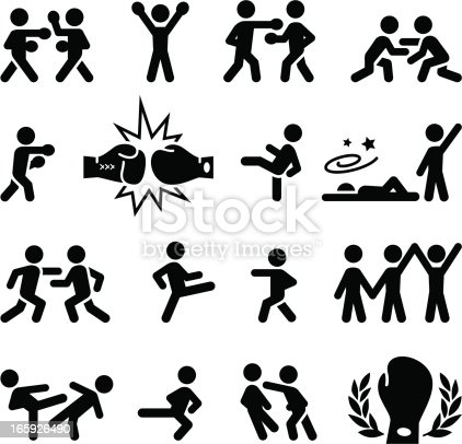 Fighting, wrestling, martial arts and boxing icons. Editable vector icons for video, mobile apps, Web sites and print projects. See more icons in this series.