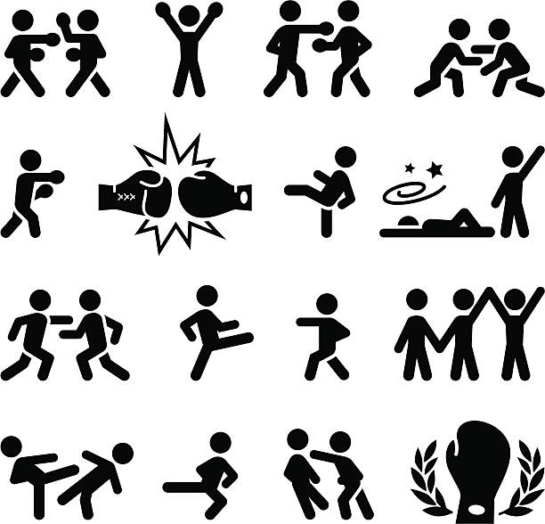 Fighting-Icons-Schwarz-Serie – Vektorgrafik