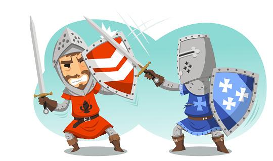 Fighting Knights With Swords Shield Helmet Army Uniform