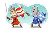 Fighting Knights With Swords Shield Helmet Army Uniform, vector illustration cartoon.