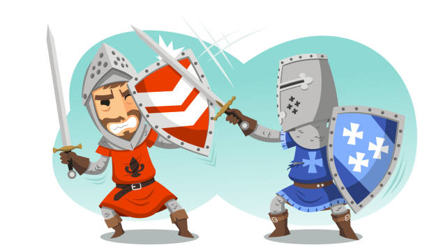 fighting knights with swords shield helmet army uniform - knight in shining armor stock illustrations, clip art, cartoons, & icons