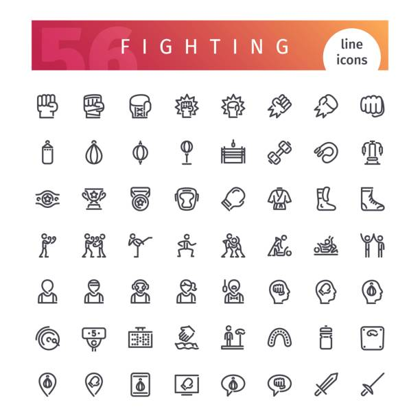 fighting line icons set - martial arts stock illustrations