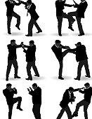 Fighting man silhouette