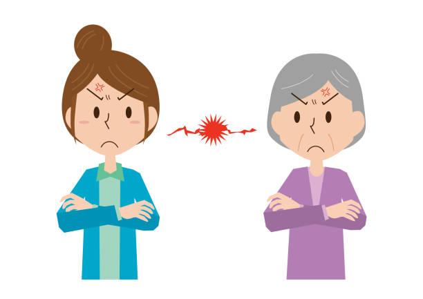 義母と戦う - 主婦 日本人点のイラスト素材/クリップアート素材/マンガ素材/アイコン素材