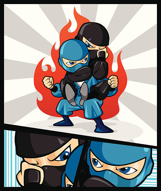Fighting Ninja vector art illustration