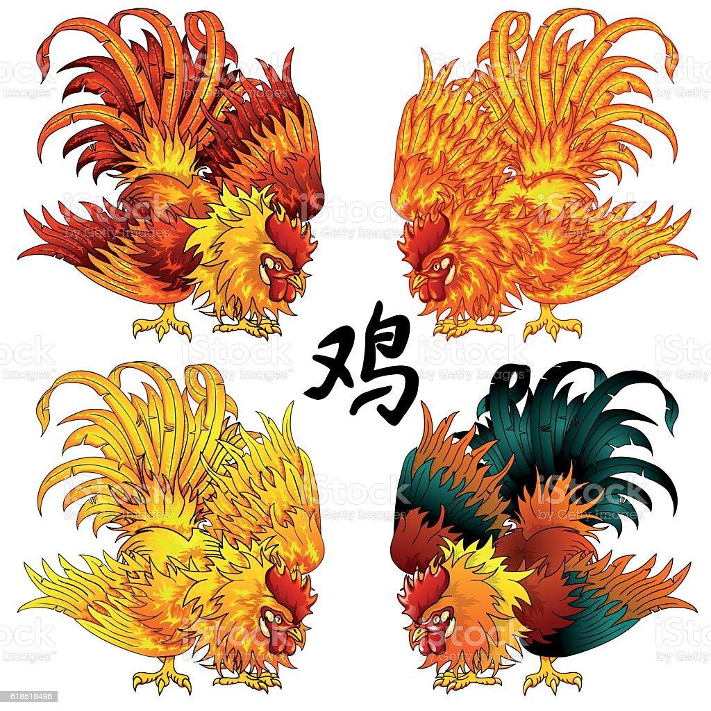 Fighting rooster four color version векторная иллюстрация