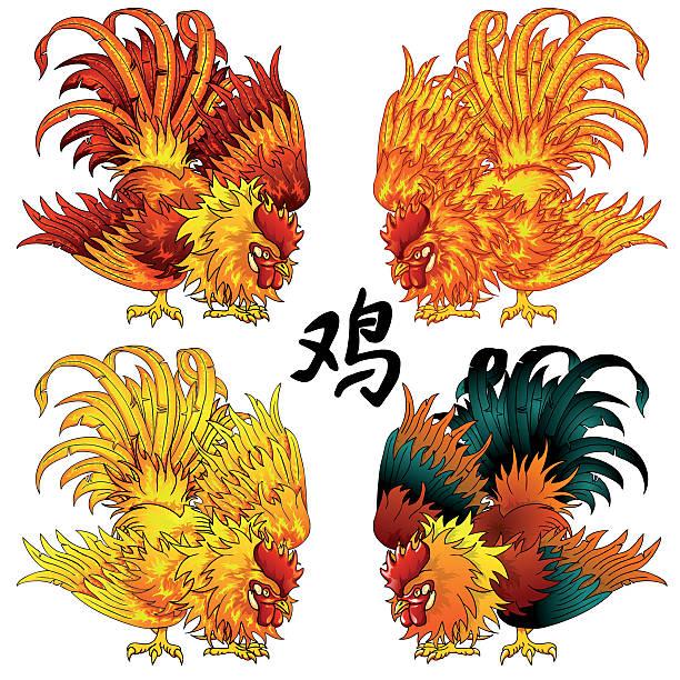 Bекторная иллюстрация Fighting rooster four color version