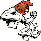 This is an illustration of a fighting rooster. Set up in an MMA or boxing pose. The file contains NO GRADIENTS and is simple and easy to edit. Also includes a black and white option. All secondary color levels are removable down to a simple flat color image. The file is provided as an Illustrator 8 EPS and a 300dpi high-rez jpg.