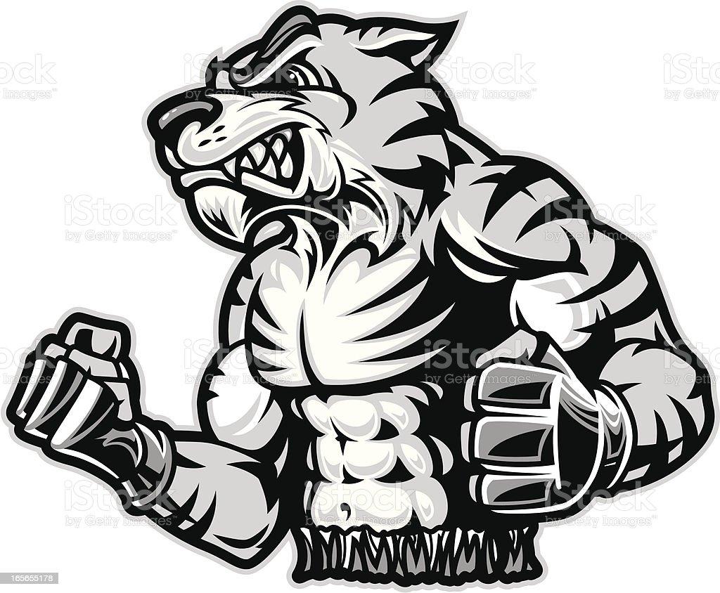 mma fighting tiger bampw stock vector art 165655178 istock