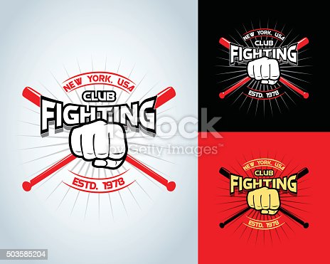 Fighting t-shirt design, logotype, boxing monochrome vector label , badge , logo