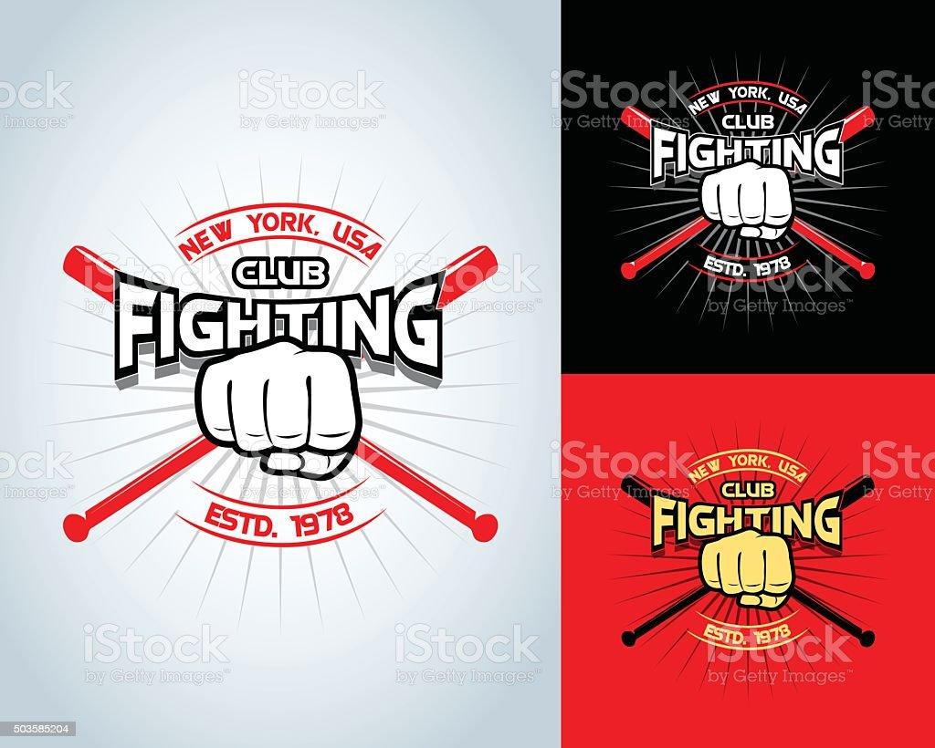 Fighting t-shirt design, logotype, boxing monochrome vector label , badge , logo vector art illustration