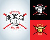 Fighting t-shirt design, logotype, boxing monochrome vector label , badge , logo