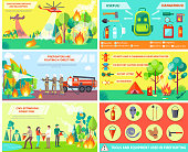 People and aircrafts fighting with fire in forest and rules about right usage various objects outdoors in woods vector collage poster
