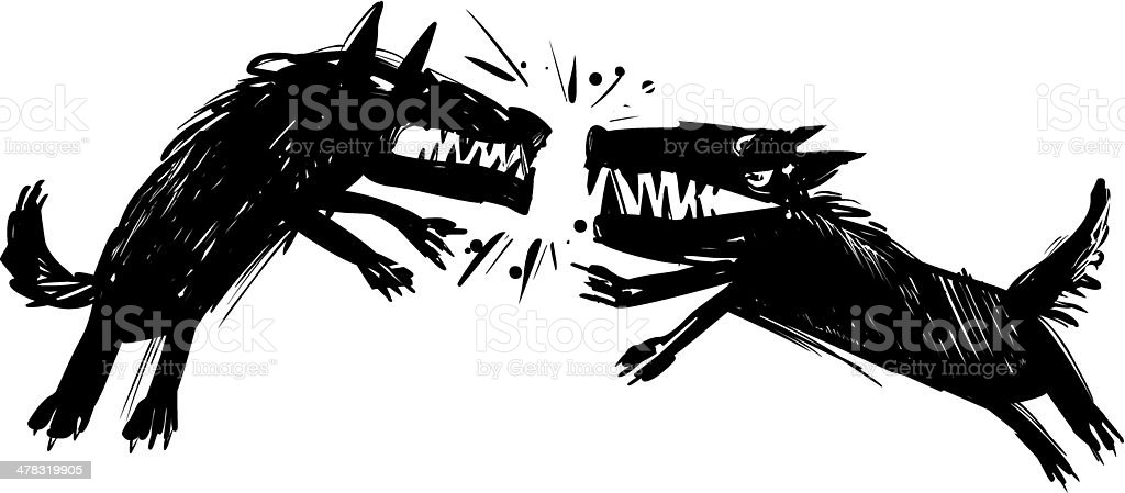 fighting wolves illustration vector art illustration