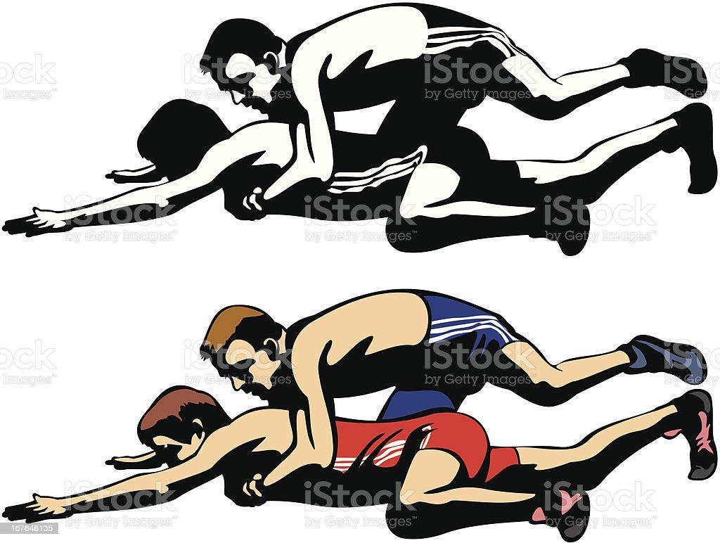 fighting wrestlers vector art illustration