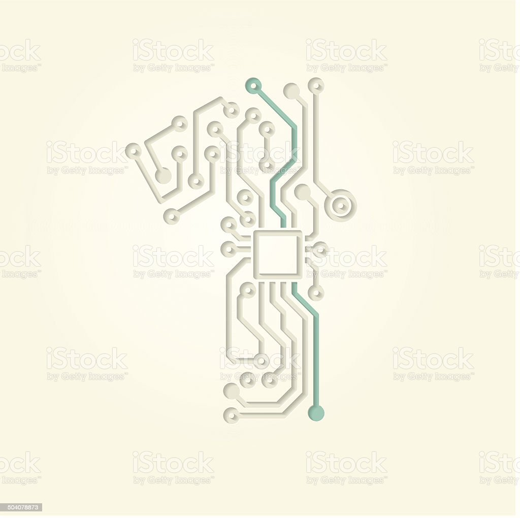 Figure 1 (Cut out electronic conductive tracks) vector art illustration
