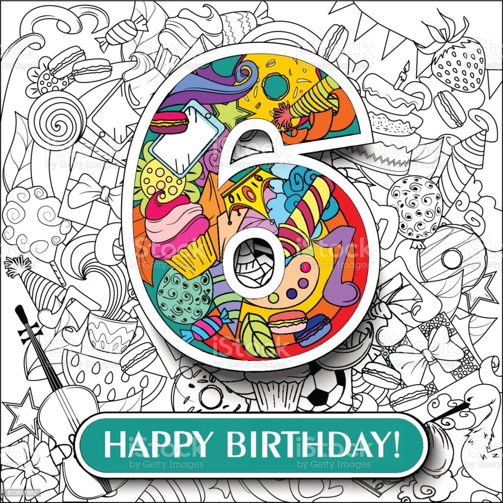Figure 6 On The Background Banner Happy Birthday Vector