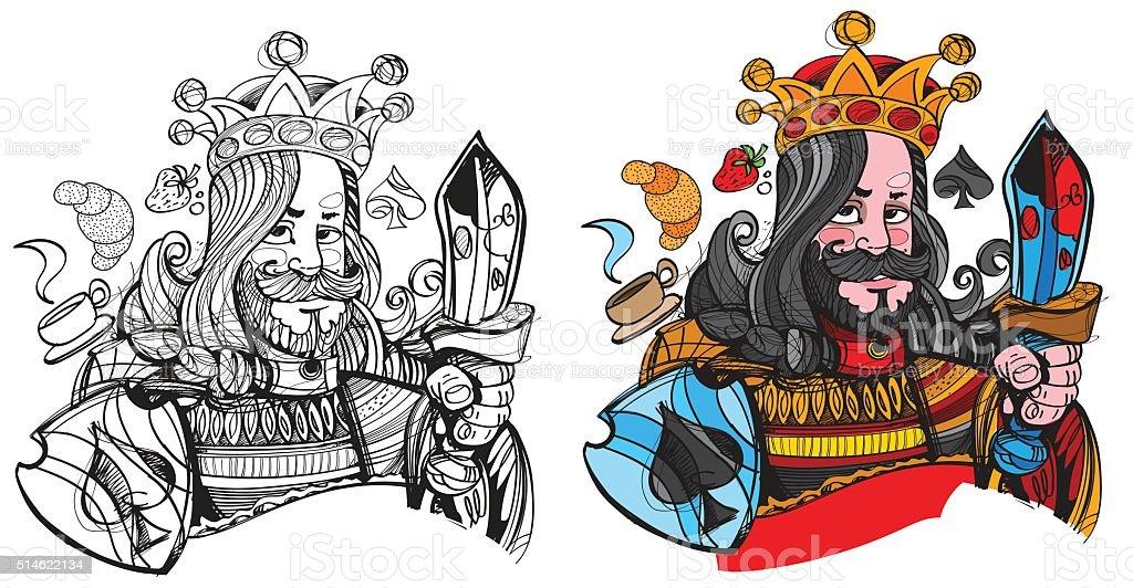 Ilustración de Figura Carácter Símbolo De Picas Con Cama Rey Naipes ...