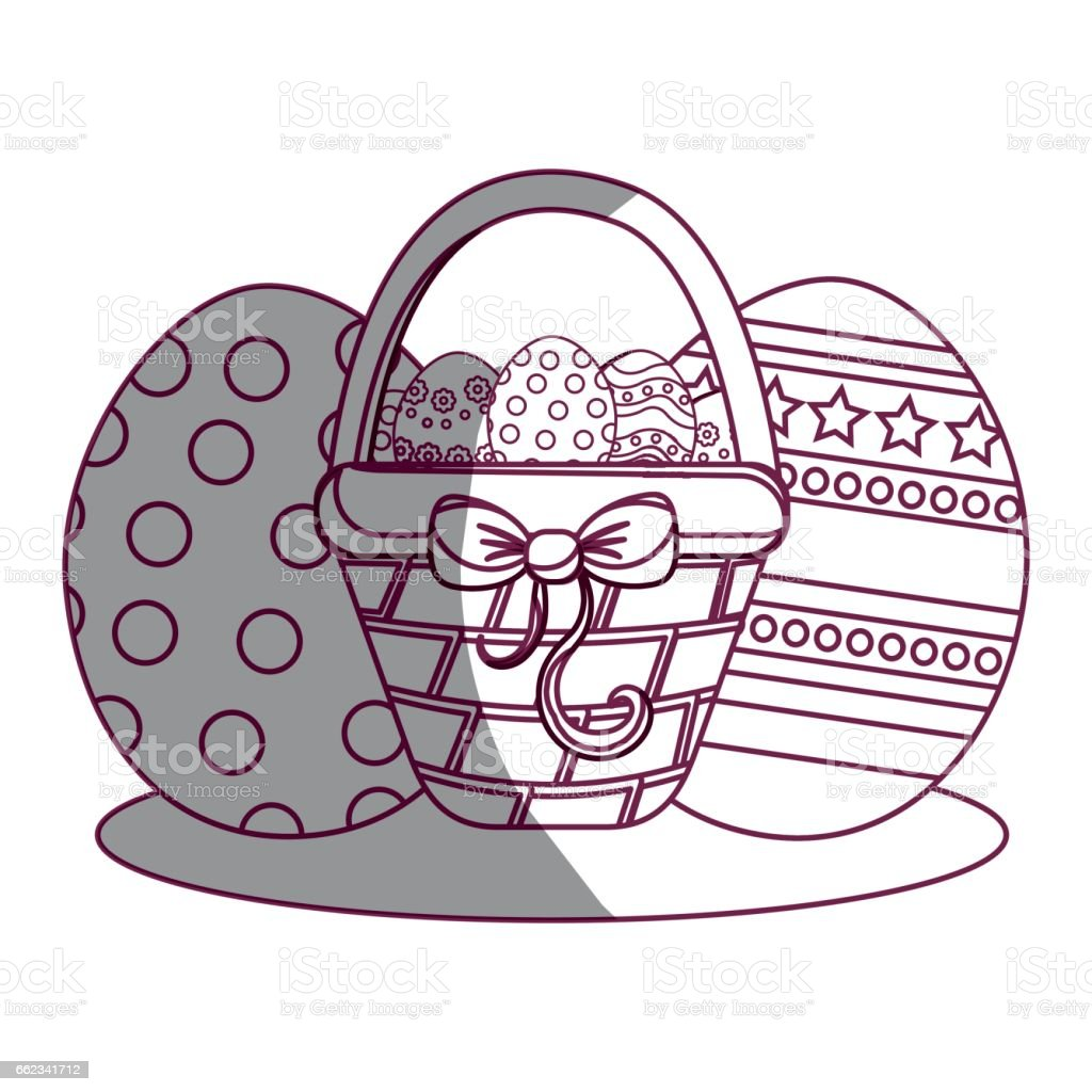 figure hamper with ribbon bow and eggs easter inside royalty-free figure hamper with ribbon bow and eggs easter inside stock vector art & more images of art
