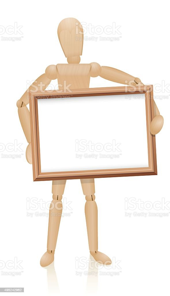 Figure Holding Frame In Front Of Him vector art illustration