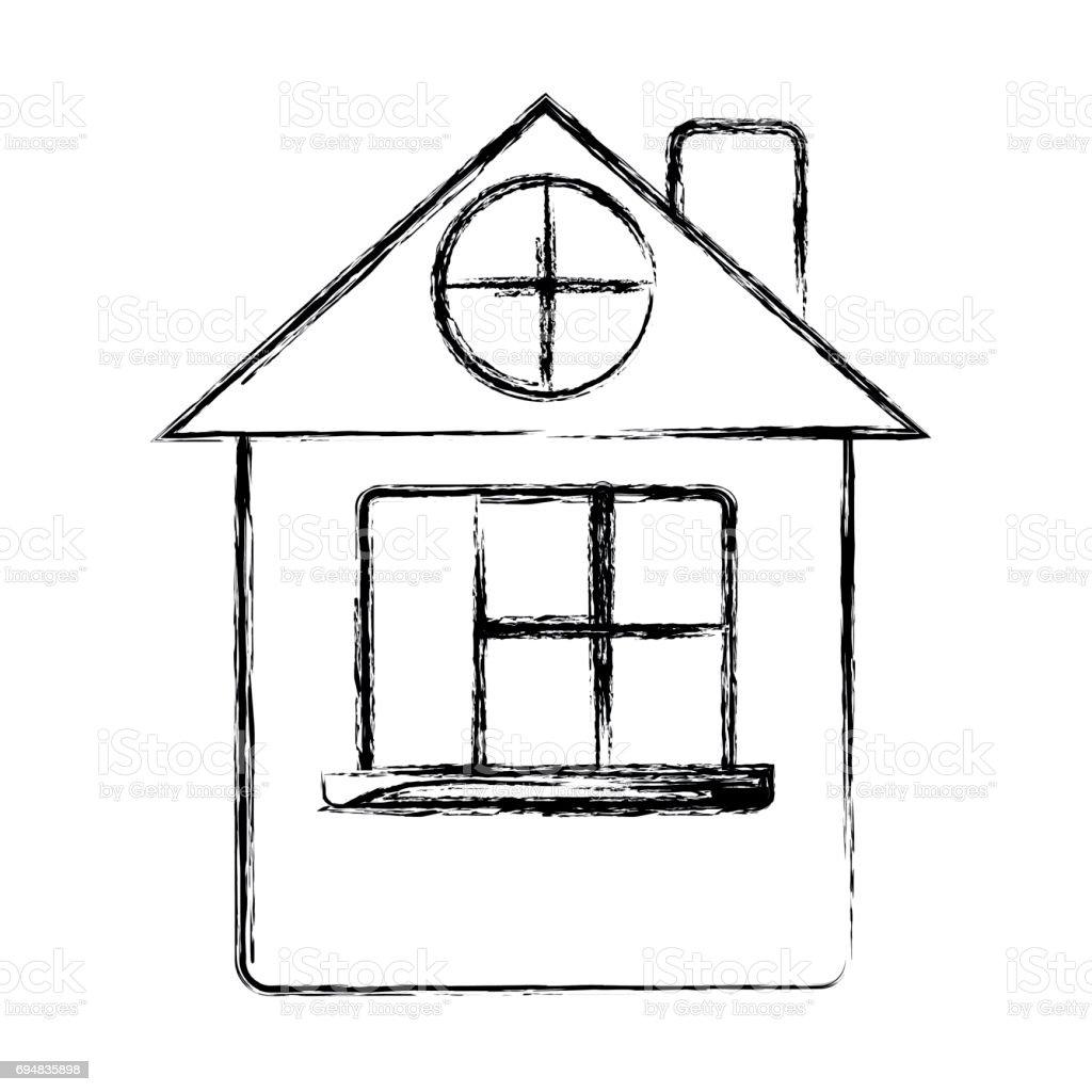 Ilustración de Casa De La Figura De Techo Y Ventana y más banco de ...