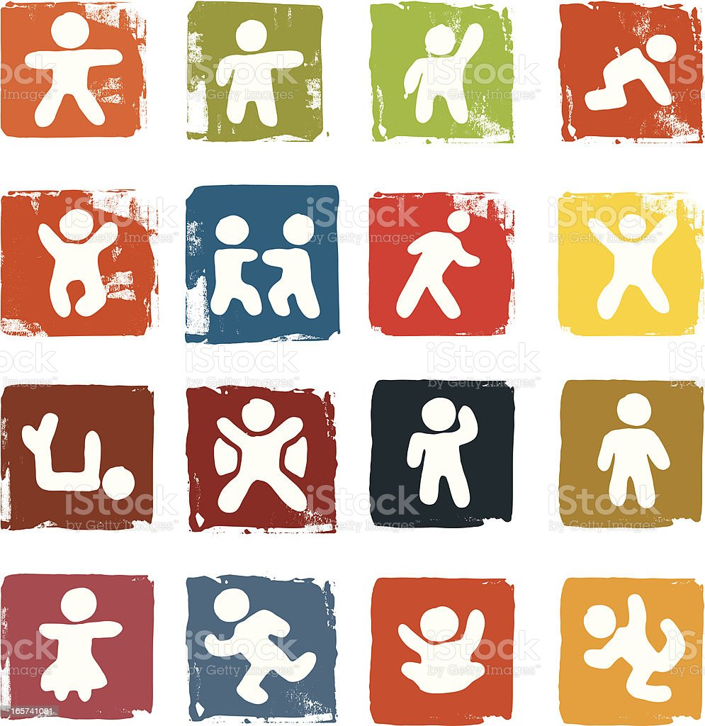 Figure icons on grunge block backgrounds royalty-free figure icons on grunge block backgrounds stock vector art & more images of activity