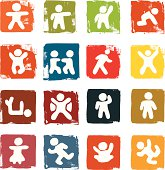 Figure icons on grunge block backgrounds