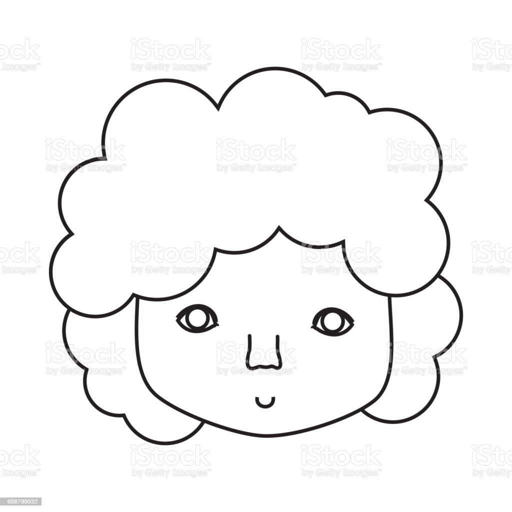 Figure Man Face With Curly Hair Icon Stock Vector Art More Images