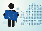 figure man holds EU flag europe map background