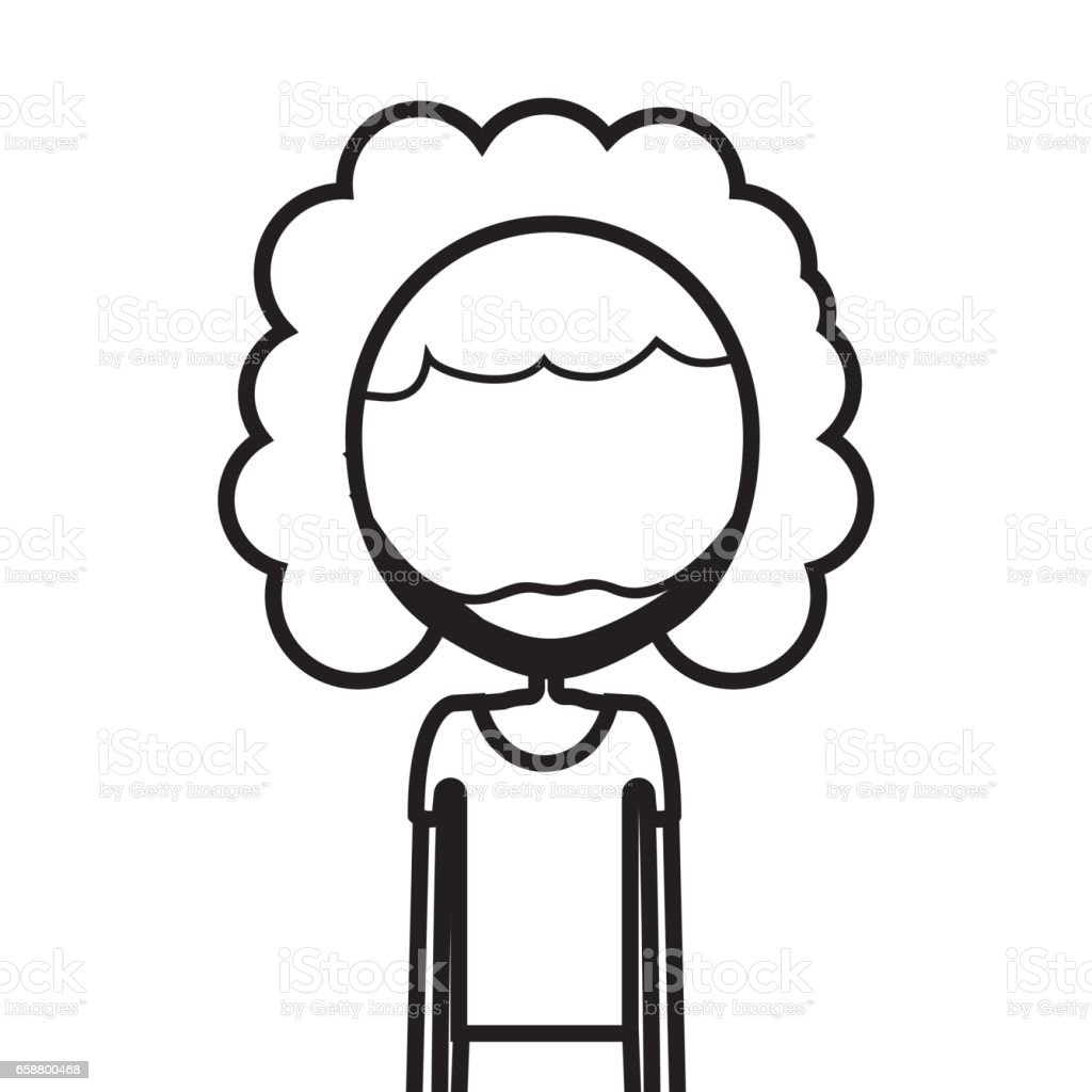 Figure Man With Curly Hair Icon Stock Vector Art More Images Of