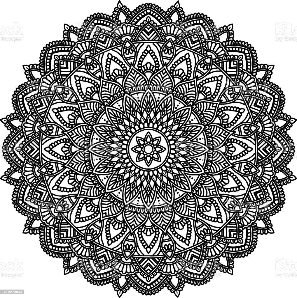 Vetores De Figura De Mandala Para Colorir Preto Branco E