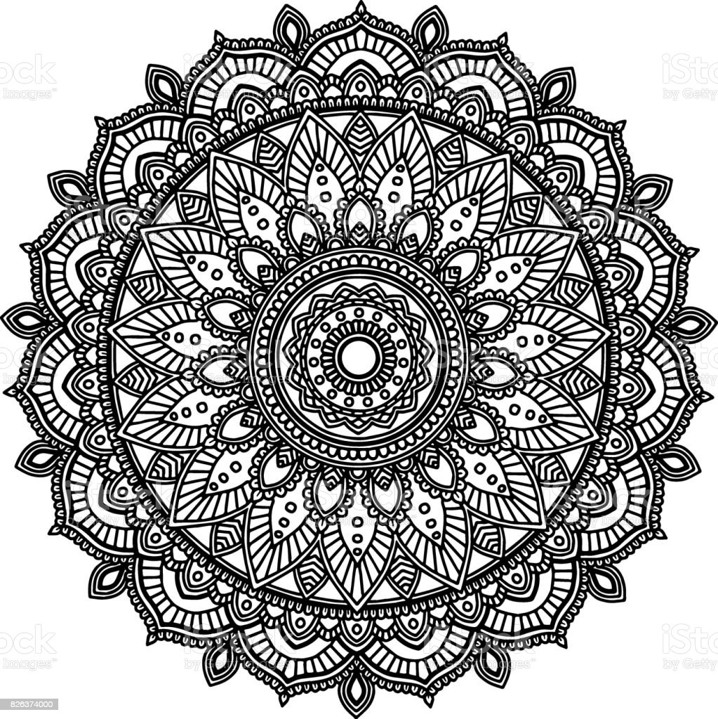 Ilustración De Figura Mandala Para Colorear De Negro Blanco Y Más Vectores Libres De Derechos De Abstracto