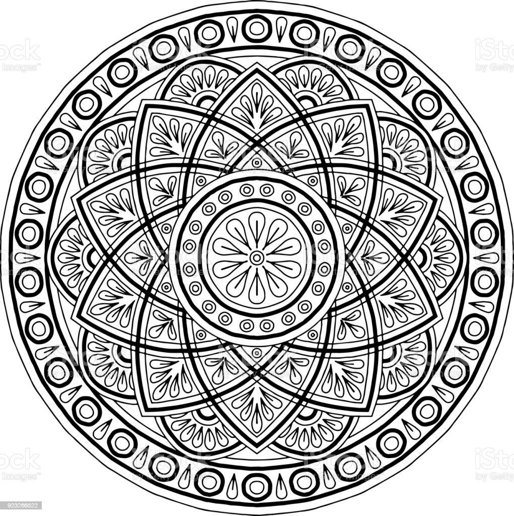 Iyi Bir Ruh Hali Boyama Için şekil Mandala Stok Vektör Sanatı