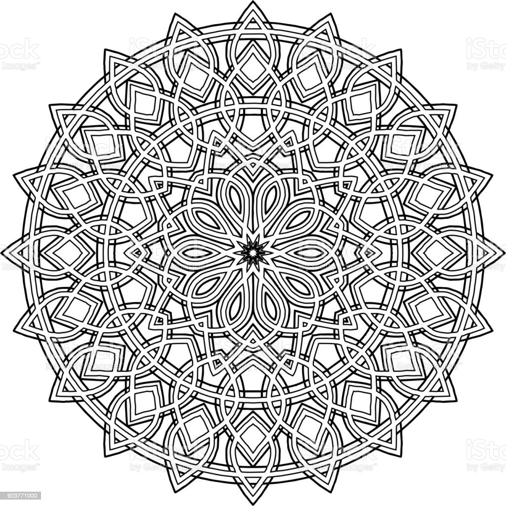 Figure Mandala For Coloring Good Mood Stock Illustration