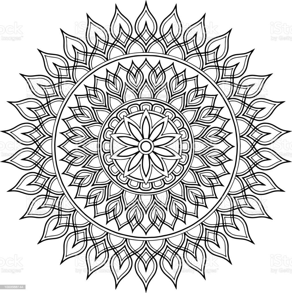 şekil Mandala Boyama Stok Vektör Sanatı Davetiyenin Daha Fazla