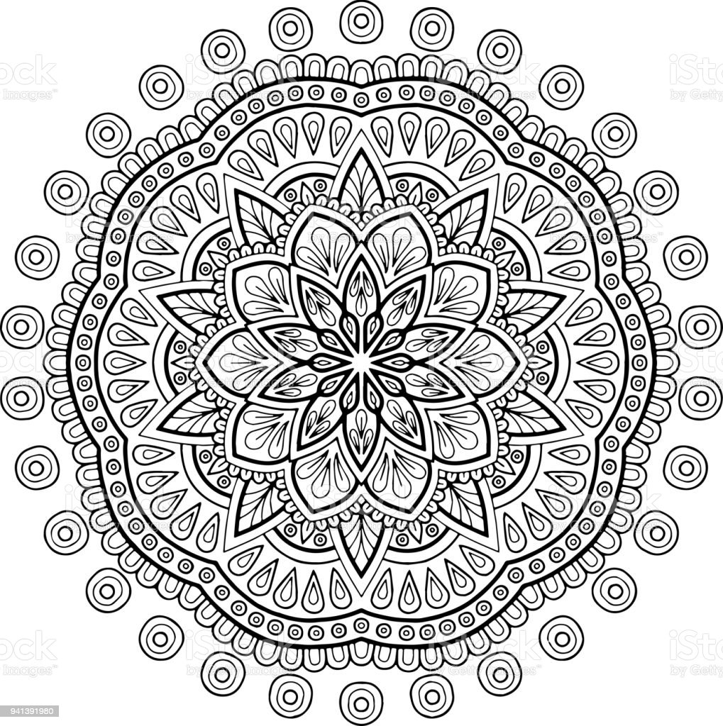 Figure Mandala For Coloring Stock Vector Art More Images Of