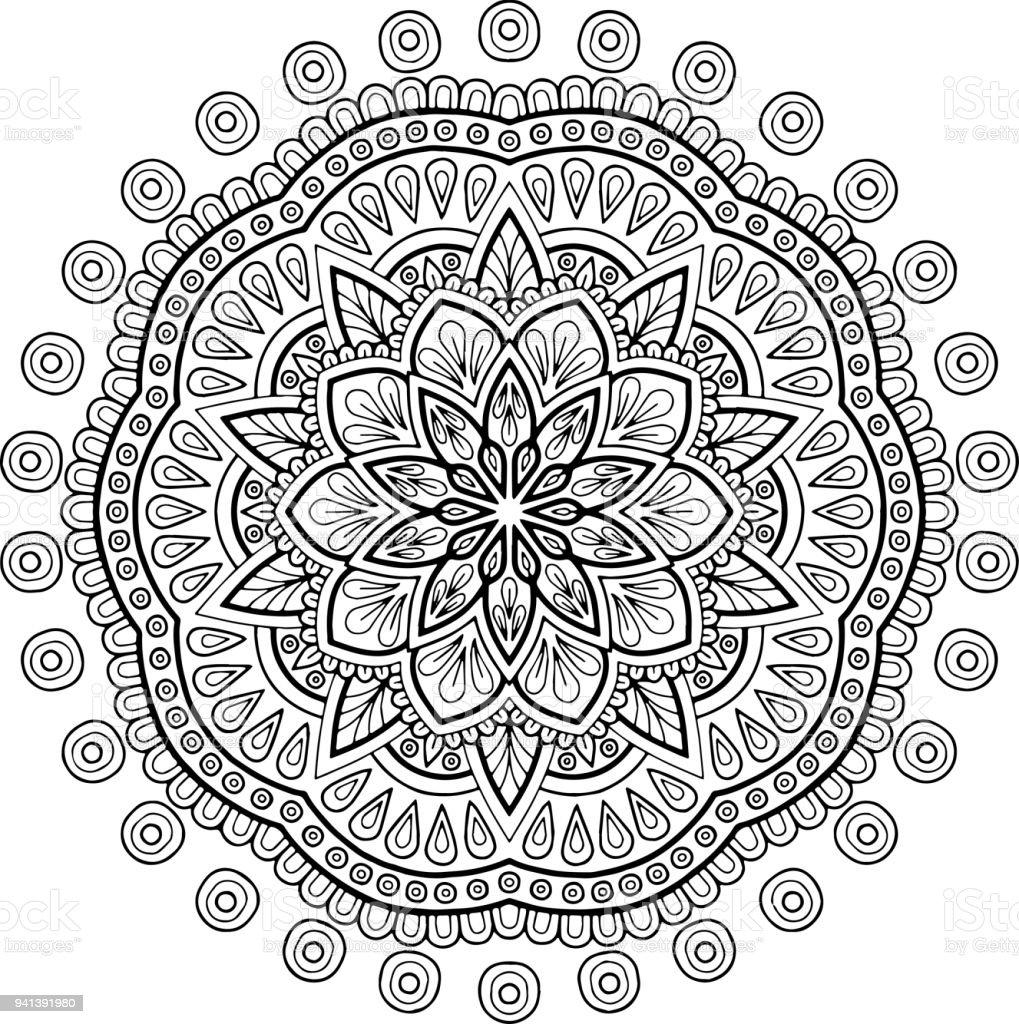 Cijfer Mandala Om In Te Kleuren Stockvectorkunst En Meer Beelden Van