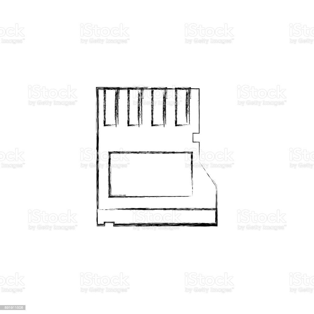 figure micro sd memory data technology vector art illustration